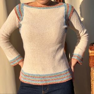 Fitted beige long sleeve sweater xs chunky